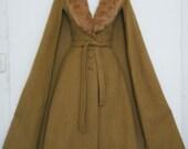 AMAZING 1970s  MOHAIR Cape DRESS jacket with Rabbit Fur portrait collar, camel vest, size s - m