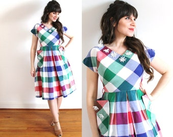 1940s Dress / 40s 50s Dress / 1940s Colorful Gingham Plaid Picnic Dress