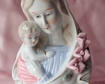 Vintage Madonna Virgin Mary with Infant Jesus Bust Figurine/  Religious Home decor