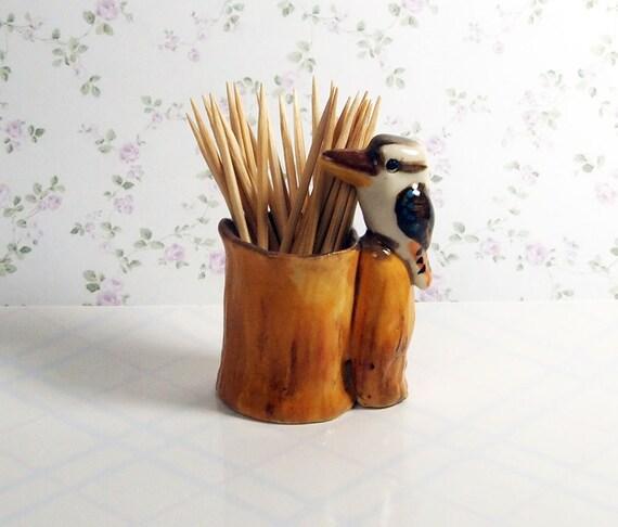 Ceramic kookaburra figurine toothpick holder australian - Bird toothpick holder ...
