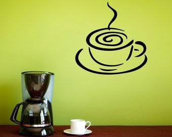 Coffee Wall Decal - Kitchen Decal - Coffee Decor - Coffee Cup Wall Art - Kitchen Decor