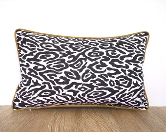 Animal print lumbar pillow case modern home decor, cat print pillow cover black and gold decor, black and white pillow sham Mothers day gift