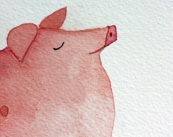 Fat pig original watercolor, farm animal, children's art, nursery art, pink and brown, quote, pig in mud, whimsical