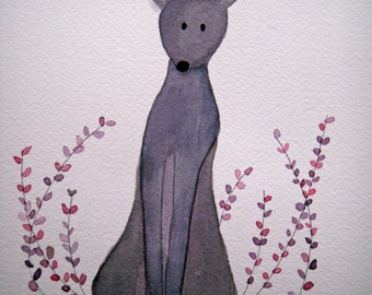 Lavender, purple grey dog, original watercolor, children's, nursery art, dog in garden, whimsical, simple, pet