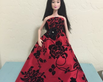 Red and Black Formal Barbie Dress with Black Cloak