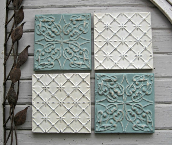 Tin Ceiling Tile Set 12 X 12 Framed Tiles By Driveinservice