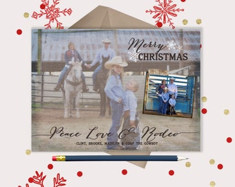 Peace Love Rodeo · Christmas Photo Card · western Christmas Cards · Holiday Cards