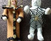 Vampire/Mummy Duo-Cotton Batting Vampire,Gauze Mummy W/Vintage Cupcake Pick Face,Black Braiding,Gold Dredsen Stars
