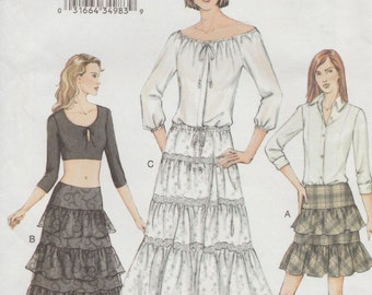 Vogue 7589 / Out Of Print Sewing Pattern / Tiered Ruffled Skirt / Sizes 14 16 18