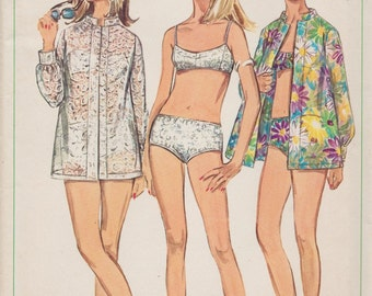 Simplicity 7645 / Vintage 60s Sewing Pattern / Swimsuit Bathing Suit Beach Coverup / Size 12 Bust 34