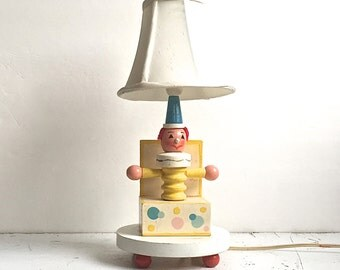 Lamp Jack In The Box, Nursery Plastics Vintage Lamp Wood Clown Red Feet
