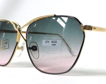vintage 1980's round sunglasses oversized thin gold metal frames blue purple gradient lenses women fashion accessories accessory sun glasses