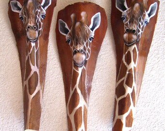 Giraffe Tiki Mask on Fan Palm Frond