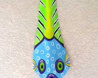 Puffer Fish Tiki Mask on Fan Palm Frond