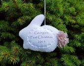 Baby's First Christmas Personalized Rabbit Ornament, Personalized Ornament, For Boy, Girl or Neutral