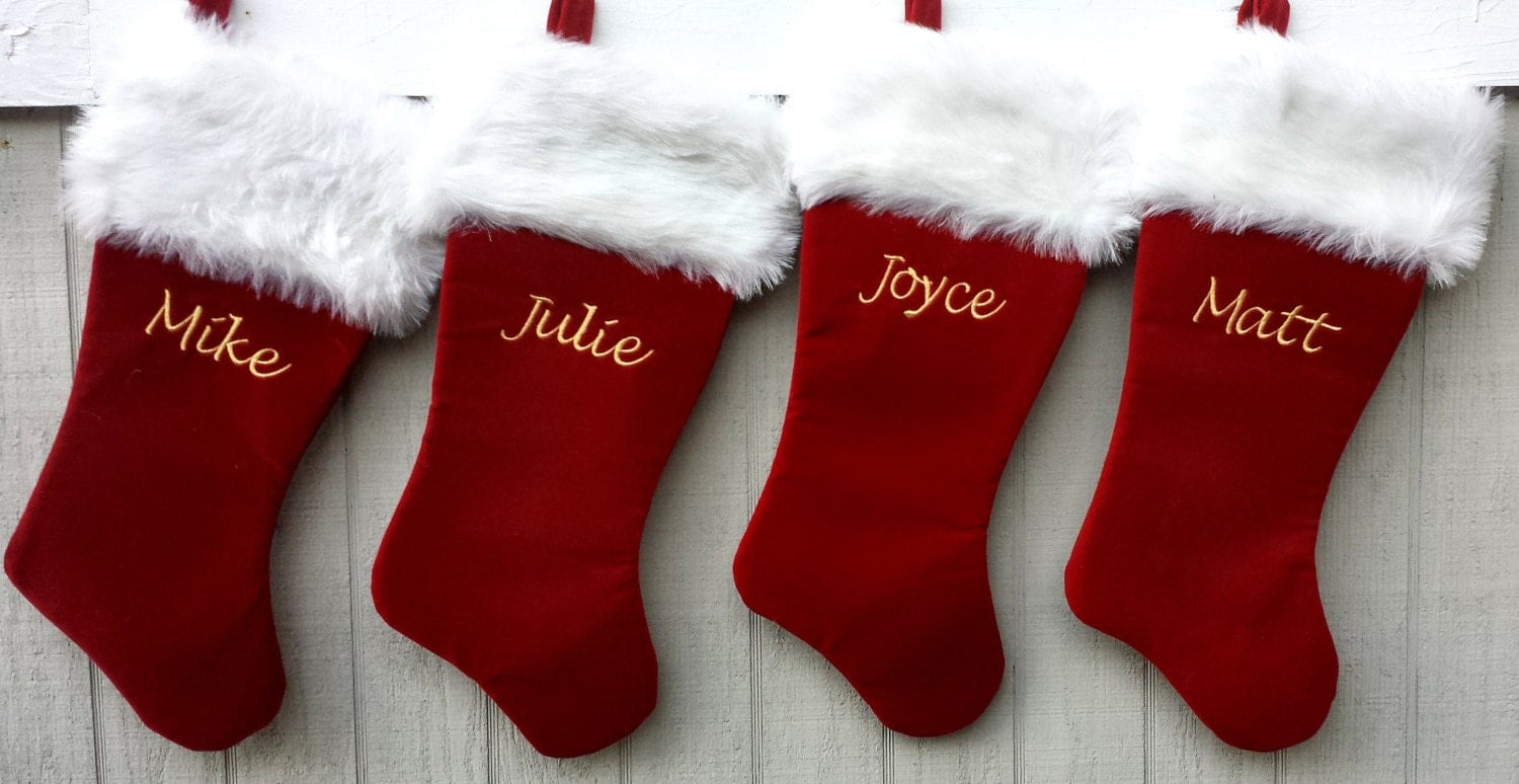 21'' Red Velvet Personalized Christmas Stocking w/Long by ...
