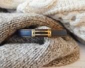 Men's Preppy Equestrian Double Leather Bracelet - Brown & Navy