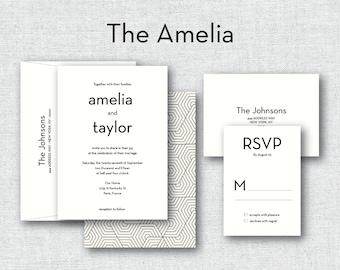 "Geometric Black and Cream Wedding Invitation ""The Amelia""-- (20 Invites, RSVP Cards, Envelopes)"