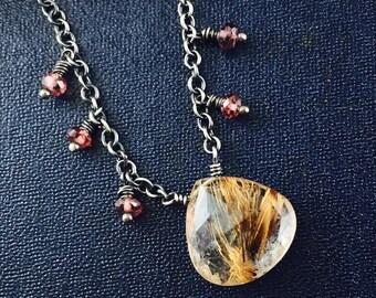 Gold Quartz Necklace, Gift for Her Garnet January Birthstone, Medium Heavy Sterling Silver Chain, Rutilated Quartz