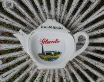 Glorieta Souvenir Tea Bag Holder, New Mexico Chruch Camp, Vintage Teapot Shape
