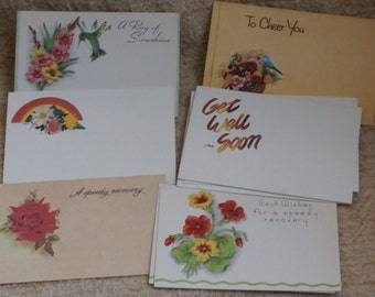 12 Vintage Get Well Soon Blank Tags or Cards, Different Styles, Florist Insert Enclosure  Cards