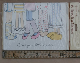 8 Girls' Slumber Party Invitations, Vintage Hallmark, 1980s Era Cuteness