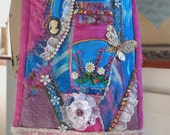 Mori girl mixed media reconstructed fabric art purse