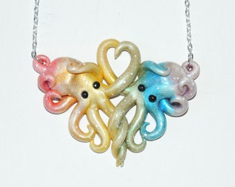 Clearance Pastel Rainbow Galaxy octopus necklace, intertwined octopi, opalescent, sparkly, glitter, starry night, outer space, stars, cosmic