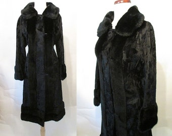 Lovely 1940's Velvet and Faux Fur Princess Vintage Cocktail Coat Old Hollywood Starlet Rockabilly Pinup Vixen Bombshell Size-Large