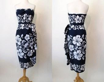 "CLEARANCE  Flirty 1950's Hawaiian Cotton Strapless Sarong Dress by ""Royal Hawaiian"" Rockabilly Pinup Girl Vixen Pool Party Tiki Size-Small"