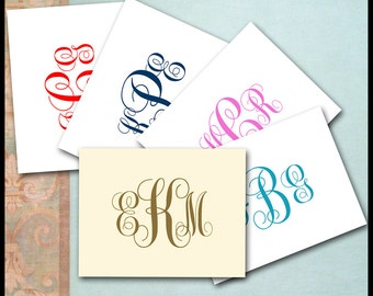 Monogram Note Cards / Monogram Stationery / Ivory & Cocoa Brown / Custom Colors Available / 10 Notecards / MADE TO ORDER / Traditional