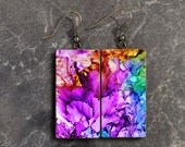 Watercolors polymer clay earrings