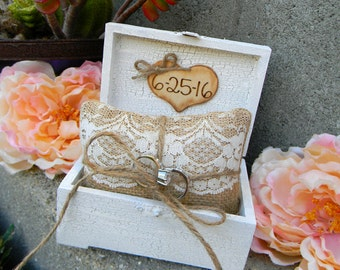 Ring Bearer Box Pillow Personalized Wood Heart Wood Ringbearer Box Rustic Ring Box Shabby Chic Woodland