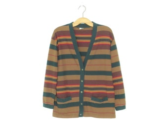 Vintage Striped Cardigan * 90s Knit Sweater * United Colors of Benetton Cardigan * Medium