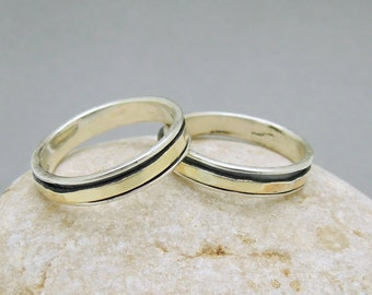 Wedding band set, silver band & Gold spinner, 2 rings, Discounted set, unisex