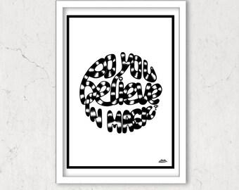 Hand Lettering Illustration Art Print, Monochrome
