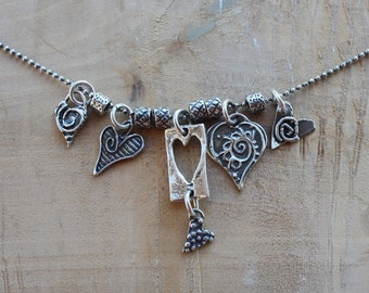 Handmade LOVE Talisman Necklace, Many Hearts Necklace, Lost Wax Casting, Wearable Art, Handcrafted Artisan Sterling Silver Necklace