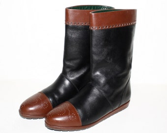 Vintage GUCCI Boots Brown Black Leather Wing Tip Booties 8 -AUTHENTIC-