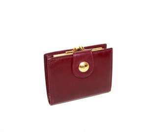 GUCCI Vintage Wallet Burgundy Leather Logo Snap Coin Clutch - AUTHENTIC -