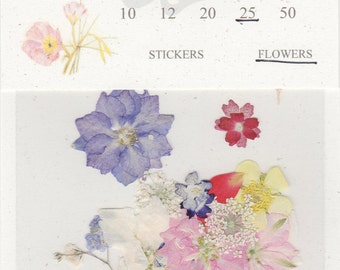 Mixed Pressed Flowers - pack of 25 1/2 inch to 2 inch pinks, blues, purples, yellow, white and red