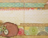 "VINTAGE Style BICYCLE finished TWO 12""x12"" Scrapbook Pages Double Layout"