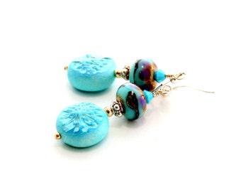 Turquoise Glass Bead Earrings. Small Dangle Earrings. Rustic Boho Earrings. Lampwork Jewelry.