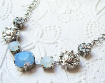 Swarovski airblue and opal crystal necklace with rose accents, set in antiqued silver plated settings-SW1261