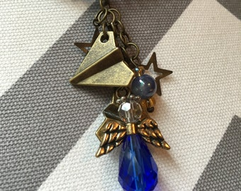 Airplane and Angel Necklace with blue beads and stars