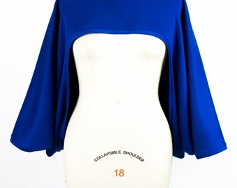 Oversize Royal Blue Sweatshirt Shrug - One Size