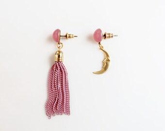 Asymmetrical Tassel Earrings, Gold Moon Earrings, Statement Earrings, Mismatched Earrings