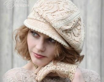 Women's Newsboy Hat, Vintage Lace Slouchy Newsboy Cap