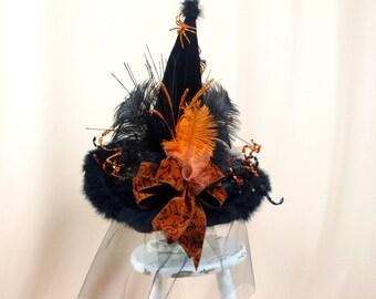 Orange and Black Witch Hat * Halloween Costume * Halloween Decor * Witch Decor * Witch Halloween * Wicca Hat * Orange Hat * Black Witch Hat