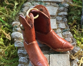 Miniature Cowboy Boots, Mini Leather Boots, Embellishments, Crafts, Topper, Mini Brown Leather Boots