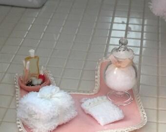 Miniature Bathroom Set, Rug, Cotton Jar, Towels, Nail Polish and More, Dollhouse Miniatures, 1:12 Scale, Bathroom Decor, Accessory